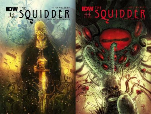 Covers of the comic book The Squidder Issue 1 and Issue 2
