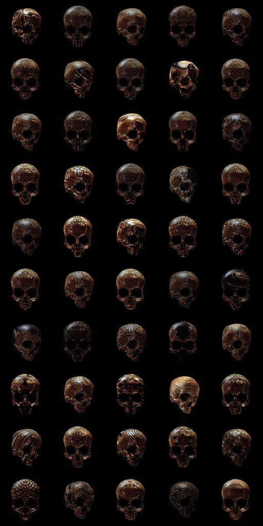 image of 50 copper skulls, all etched with different designs such as flowers or geometric shapes