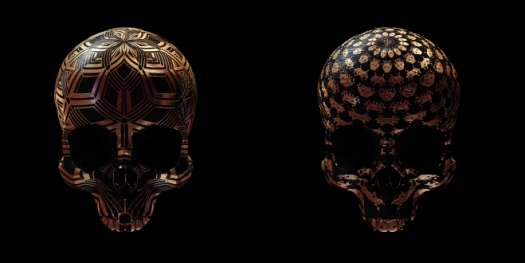 image of two skulls with patterns etched into them
